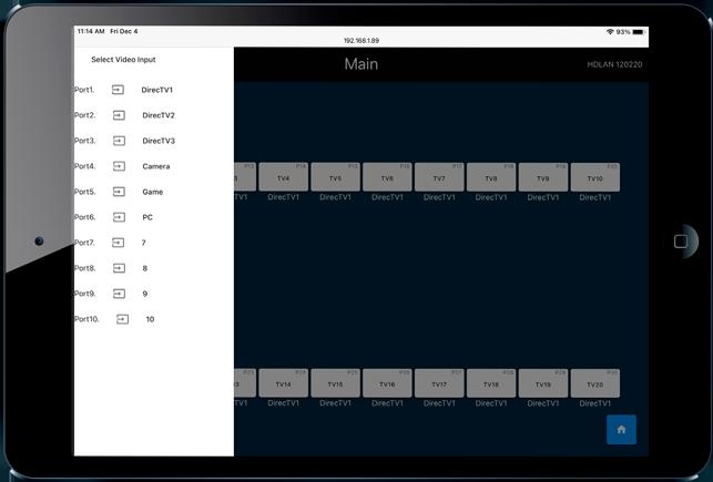 Octava HDLAN Control App | iPad| | Main Input Select